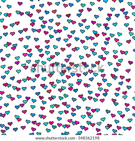 Seamless pattern with tiny colorful hearts. Abstract repeating. Cute backdrop. White background. Template for Valentine's, Mother's Day, wedding, scrapbook, surface textures. Vector illustration. - stock vector