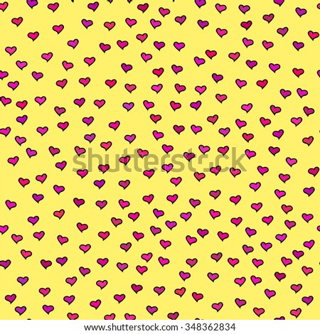 Seamless pattern with tiny colorful hearts. Abstract repeating. Cute backdrop. Yellow background. Template for Valentine's, Mother's Day, wedding, scrapbook, surface textures. Vector illustration. - stock vector