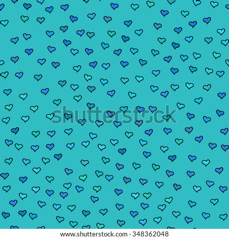 Seamless pattern with tiny hearts. Abstract repeating. Cute backdrop. Blue background. Template for Valentine's, Mother's Day, wedding, scrapbook, surface textures. Vector illustration. - stock vector