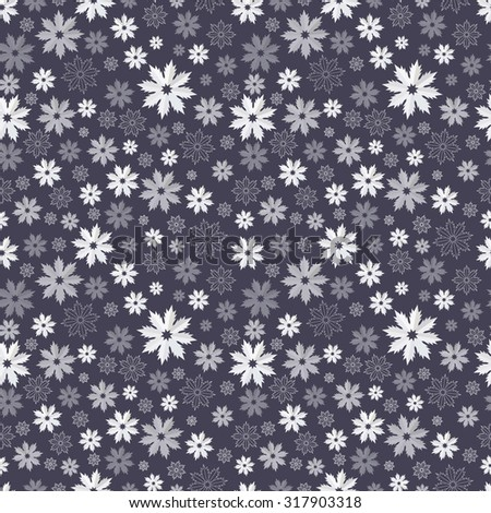 Seamless pattern with translucent snowflakes on a dark blue-gray background. Vector EPS 10 - stock vector