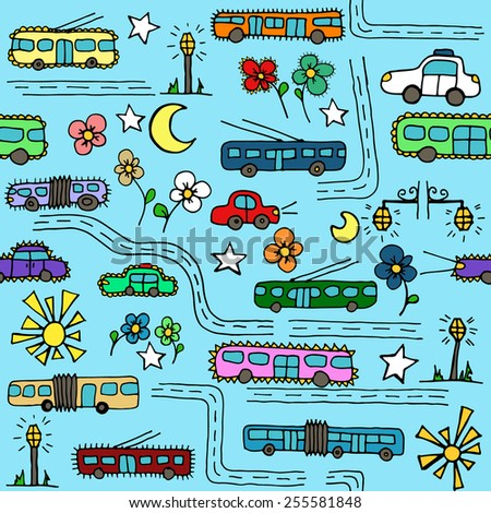 Seamless pattern with transport, roads, flowers and streets. Can be used as a background of website, textiles or other