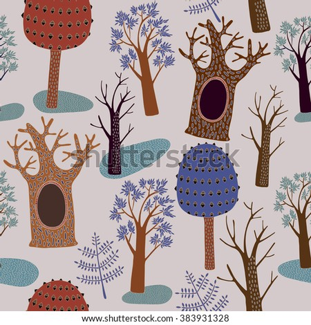 seamless pattern with trees, forest, bright colors