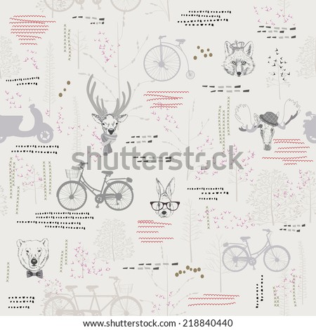 Seamless pattern with trees, shrubs, foliage, animals, deer, elk, rabbit, hare, fox, bear, on light background in vintage style. Background for fabric, scrapbooking, greeting cards in hipster style.  - stock vector