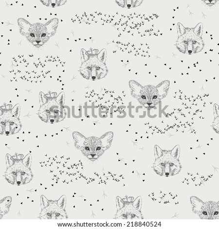 Seamless pattern with trees, shrubs, foliage, animals, fox, kitten, cat on light background in vintage style. Background for fabric, scrapbooking, greeting cards in hipster style. Hand drawing.  - stock vector