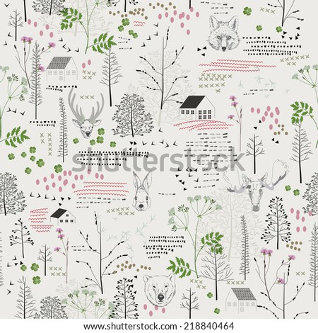 Seamless pattern with trees, shrubs, foliage, deer, elk, fox, bear, rabbit, rabbit, animals on light background in vintage style. Background for fabric, scrapbooking in hipster style. Hand drawing.  - stock vector