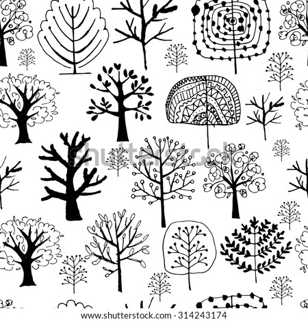 Seamless pattern with trees, sketch for your design. Vector illustration - stock vector