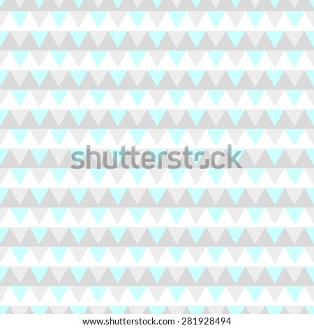 Seamless pattern with triangular polygon flags in a row from light gray to white and light blue