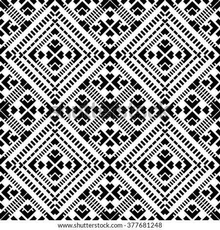 Seamless pattern with tribal aztec elements. Boho chic design. Black and white.