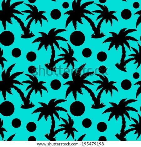 Seamless pattern with tropical coconut palm trees and circles in black and blue. Endless print silhouette texture. Beach background. Summer. Rain forest. Jungle - vector