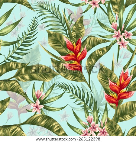 Seamless pattern with tropical flowers in watercolor style