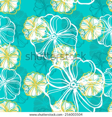 Seamless pattern with tropical Hibiscus flowers. Vector illustration. - stock vector