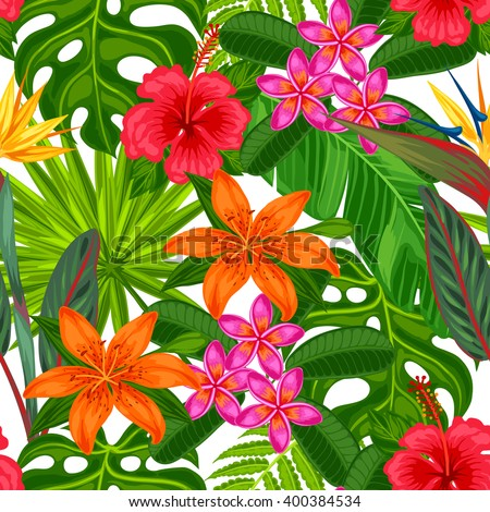 Seamless pattern with tropical plants, leaves and flowers. Background made without clipping mask. Easy to use for backdrop, textile, wrapping paper. - stock vector