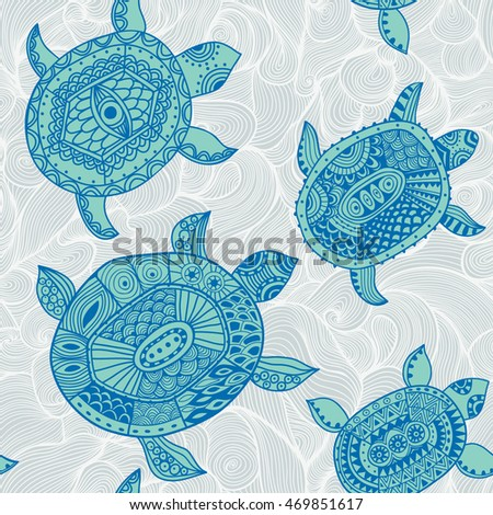 Seamless pattern with turtles. Animal background