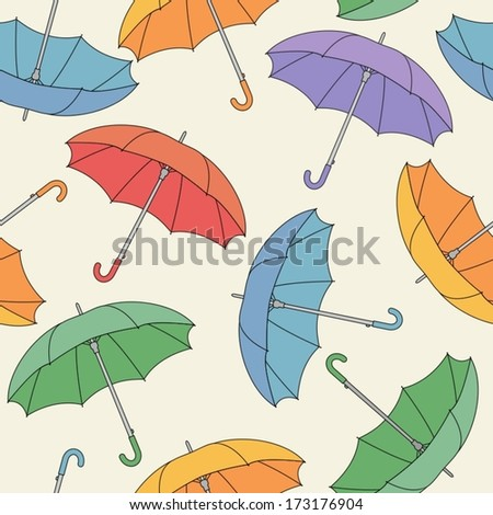 Seamless pattern with umbrellas.