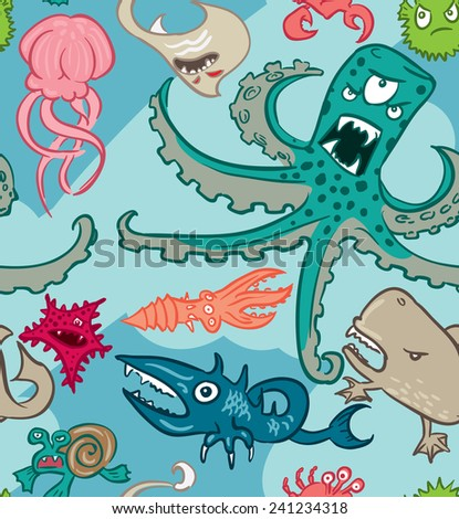 Seamless pattern with underwater monsters, vector background textures - stock vector