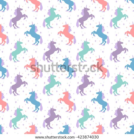 Seamless pattern with unicorn silhouette. Vector illustration. Cute magic background. Fantasy wallpaper - stock vector