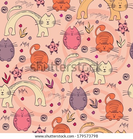 seamless pattern with unusual cats - stock vector