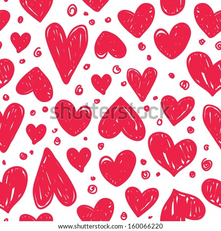 Seamless pattern with valentine hearts - stock vector