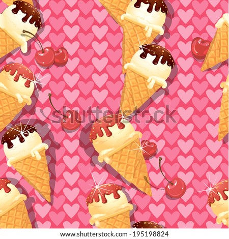 Seamless pattern with Vanilla Ice cream cones with Chocolate and strawberry glaze and cherry berries on pink background with hearts. - stock vector