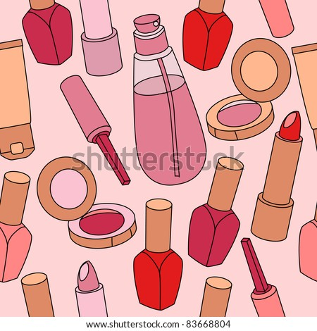 Seamless pattern with various cosmetics