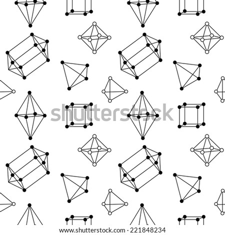 Seamless pattern with various crystal structure elements 1 - stock vector