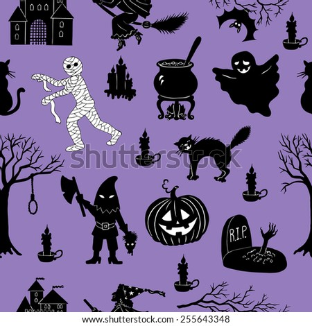 Seamless pattern with various Halloween characters and objects on purple background - stock vector