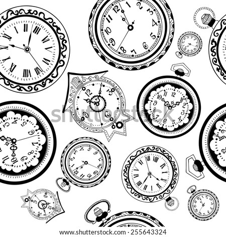 Seamless pattern with various types of old vintage watches isolated on white - stock vector