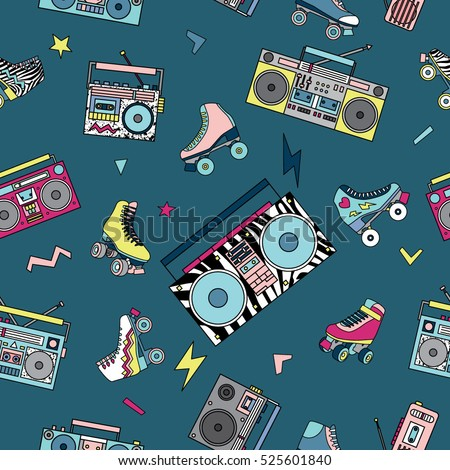 Seamless pattern with various vintage cassette players and roller skates. Retro 80s and 90s style vector art.