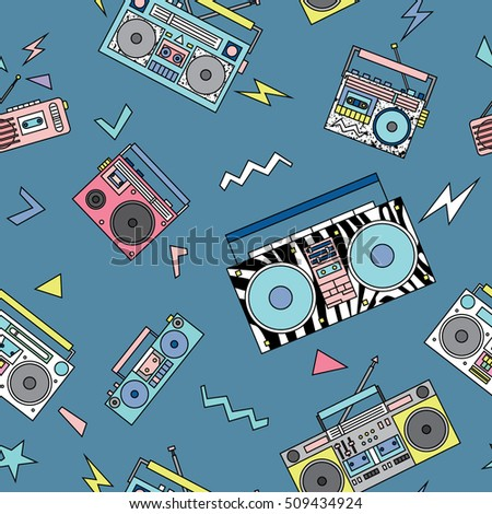 Seamless pattern with various vintage cassette players. Retro 80s and 90s style vector art.