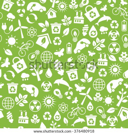 Seamless pattern with vector Eco Icons in flat style. Ecology, Nature, Energy, Environment and Recycle Icons. White icons on green background for your design.