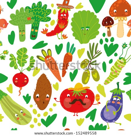 Seamless pattern with vegetables.Seamless pattern can be used for wallpaper, pattern fills, web page backgrounds, surface textures. - stock vector