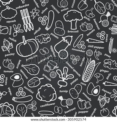 Seamless pattern with vegetables, vector illustration