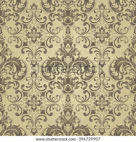 Seamless pattern with Victorian motives. Endless pattern can be used for ceramic tile, wallpaper, linoleum,stained-glass window, web page background.