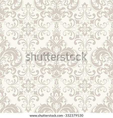 seamless pattern with Victorian motives in beige - stock vector
