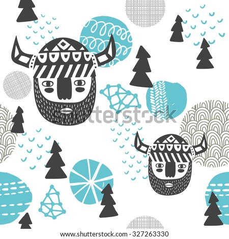 Seamless pattern with vikings faces. Vector repeated background of northern woodland. - stock vector