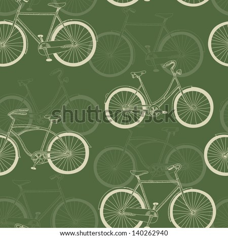 Seamless pattern with vintage bicycles on green background
