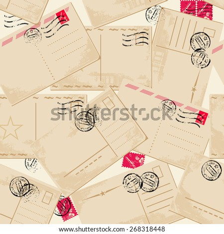 seamless pattern with vintage cards - stock vector