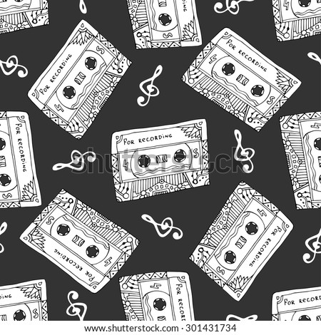 Seamless pattern with vintage cassettes. Black and white music print. Doodle musical texture for wrapping, fabric swatch. Vector design