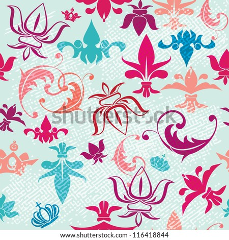 Seamless pattern with vintage heraldic silhouettes elements - icons of crowns and fleur de lis - stock vector