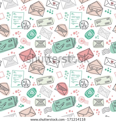 Seamless pattern with vintage mail postal letters and envelopes and stamps. Doodle illustration in vector. - stock vector