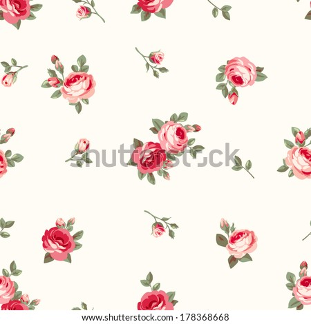 Seamless pattern with vintage roses. Floral background. Wallpaper with blossoming flowers and leaves