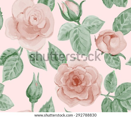 Seamless pattern with vintage roses. Watercolor painting. Vector illustration