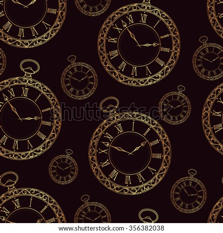 Seamless pattern with vintage watches