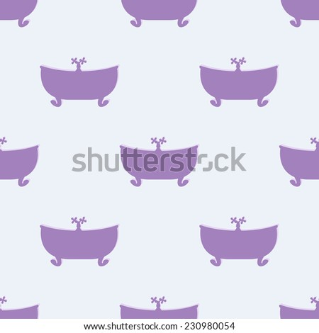Seamless pattern with violet bathtub with tap on lilac background. For textile, wrapping paper, boxes decoration, other packing elements - stock vector