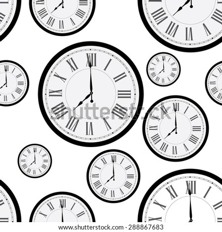 Seamless pattern with wall clock. Clock on wall. Old clock