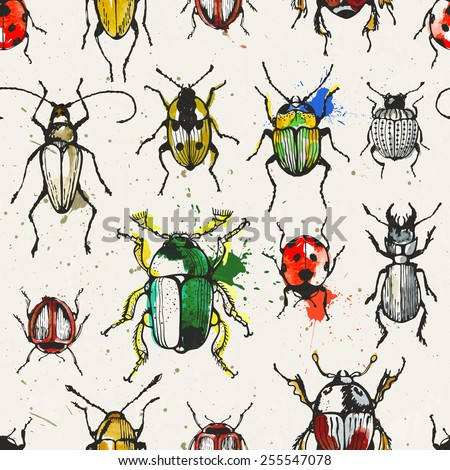 Seamless pattern with watercolor beetles. EPS 10 vector illustration. - stock vector
