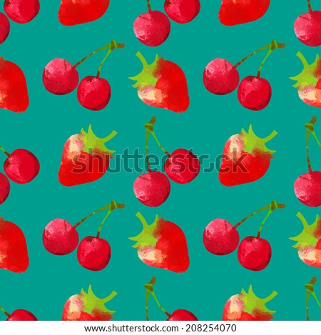 Seamless pattern with watercolor cherry and strawberry. Fruits, berries. Repeating print background texture. Fabric design. Wallpaper - vector  - stock vector