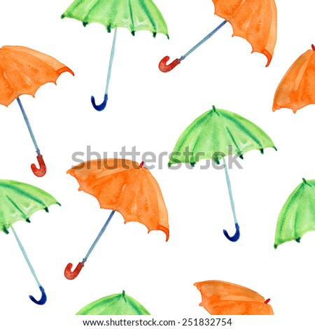 Seamless pattern with watercolor colorful umbrellas. green and orange abstract umbrellas on white background. Vector. - stock vector