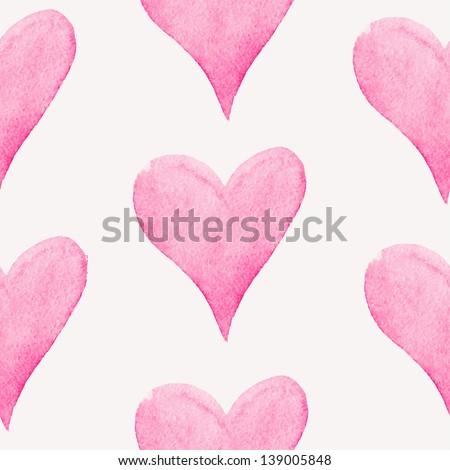 Seamless pattern with watercolor hearts. Vector illustration - stock vector
