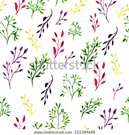 Seamless pattern with watercolor painted leaves and ornate branches. Vector tiled background. - stock vector